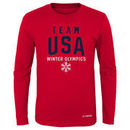 Team USA Youth Olympics in Mountain Long Sleeve T-Shirt - Red