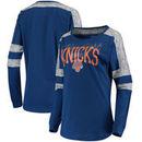 New York Knicks 5th & Ocean by New Era Women's Space Dye Baby Jersey Long Sleeve T-Shirt - Blue