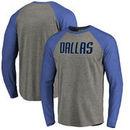 Dallas Mavericks Fanatics Branded Primary Wordmark Tri-Blend Long Sleeve T-Shirt - Heathered Gray