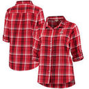 Ohio State Buckeyes Women's Boyfriend Plaid Plus Size Long Sleeve Shirt - Scarlet