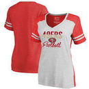 San Francisco 49ers NFL Pro Line by Fanatics Branded Women's Free Line Color Block Tri-Blend V-Neck T-Shirt - White/Scarlet