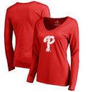 Philadelphia Phillies Fanatics Branded Women's Splatter Logo Long Sleeve V-Neck T-Shirt - Red