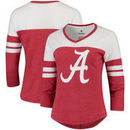 Alabama Crimson Tide Fanatics Branded Women's Primary Logo 3/4-Sleeve Tri-Blend V-Neck T-Shirt - Crimson/White