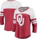 Oklahoma Sooners Fanatics Branded Women's Primary Logo 3/4-Sleeve Tri-Blend V-Neck T-Shirt - Crimson/White
