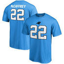 Christian McCaffrey Carolina Panthers NFL Pro Line by Fanatics Branded Authentic Stack Name & Number T-Shirt - Blue