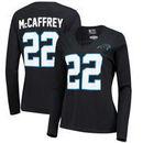 Christian McCaffrey Carolina Panthers NFL Pro Line by Fanatics Branded Women's Authentic Stack Name & Number Long Sleeve V-Neck