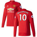 Zlatan Ibrahimovic Manchester United adidas 2017/18 Home Replica Patch Long Sleeve Jersey – Red