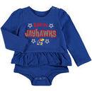 Kansas Jayhawks Colosseum Girls Infant Rock-A-Bye Long Sleeve Skirted Creeper - Royal