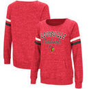 Louisville Cardinals Colosseum Stormin The Castle Raw Edge Crewneck Sweatshirt - Heathered Red