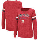 Nebraska Cornhuskers Colosseum Stormin The Castle Raw Edge Crewneck Sweatshirt - Heathered Scarlet
