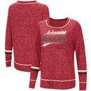 Arkansas Razorbacks Colosseum Women's Giant Dreams Raw Edge Long Sleeve T-Shirt - Heathered Cardinal