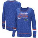 Florida Gators Colosseum Women's Giant Dreams Raw Edge Long Sleeve T-Shirt - Heathered Royal