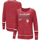Indiana Hoosiers Colosseum Women's Giant Dreams Raw Edge Long Sleeve T-Shirt - Heathered Crimson