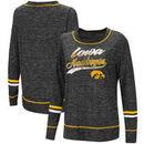 Iowa Hawkeyes Colosseum Women's Giant Dreams Raw Edge Long Sleeve T-Shirt - Heathered Black