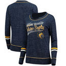 Marquette Golden Eagles Colosseum Women's Giant Dreams Raw Edge Long Sleeve T-Shirt - Heathered Navy