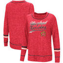 Maryland Terrapins Colosseum Women's Giant Dreams Raw Edge Long Sleeve T-Shirt - Heathered Red