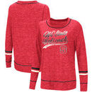 NC State Wolfpack Colosseum Women's Giant Dreams Raw Edge Long Sleeve T-Shirt - Heathered Red