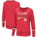 Nebraska Cornhuskers Colosseum Women's Giant Dreams Raw Edge Long Sleeve T-Shirt - Heathered Scarlet