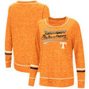 Tennessee Volunteers Colosseum Women's Giant Dreams Raw Edge Long Sleeve T-Shirt - Heathered Tennessee Orange