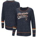 Virginia Cavaliers Colosseum Women's Giant Dreams Raw Edge Long Sleeve T-Shirt - Heathered Navy