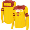 Iowa State Cyclones Colosseum Women's My Way Striped Long Sleeve T-Shirt - Gold/Cardinal