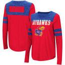 Kansas Jayhawks Colosseum Women's My Way Striped Long Sleeve T-Shirt - Red/Royal