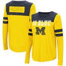Michigan Wolverines Colosseum Women's My Way Striped Long Sleeve T-Shirt - Maize/Navy