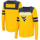 West Virginia Mountaineers Colosseum Women's My Way Striped Long Sleeve T-Shirt - Gold/Navy