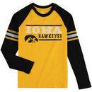 Iowa Hawkeyes Colosseum Youth Marble Bag Raglan Long Sleeve T-Shirt - Gold/Black