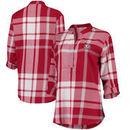 Alabama Crimson Tide Women's Plaid Woven Tunic Long Sleeve Shirt - Crimson