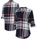 Auburn Tigers Women's Plaid Woven Tunic Long Sleeve Shirt - Navy