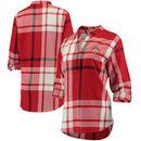 Ohio State Buckeyes Women's Plaid Woven Tunic Long Sleeve Shirt - Scarlet
