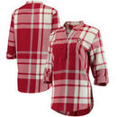 Oklahoma Sooners Women's Plaid Woven Tunic Long Sleeve Shirt - Crimson