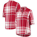 Alabama Crimson Tide Women's Plus Size Plaid Woven Tunic Long Sleeve Shirt - Crimson