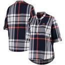 Auburn Tigers Women's Plus Size Plaid Woven Tunic Long Sleeve Shirt - Navy