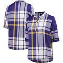 LSU Tigers Women's Plus Size Plaid Woven Tunic Long Sleeve Shirt - Purple