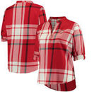 Ohio State Buckeyes Women's Plus Size Plaid Woven Tunic Long Sleeve Shirt - Red