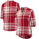 Oklahoma Sooners Women's Plus Size Plaid Woven Tunic Long Sleeve Shirt - Crimson