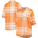 Tennessee Volunteers Women's Plus Size Plaid Woven Tunic Long Sleeve Shirt - Tennessee Orange