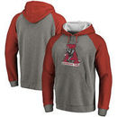 Alabama Crimson Tide Fanatics Branded Vault School Logo Raglan Sleeve Tri-Blend Pullover Hoodie - Heathered Gray/Crimson