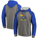 Kansas Jayhawks Fanatics Branded Vault School Logo Raglan Sleeve Tri-Blend Pullover Hoodie - Gray/Royal