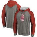 Washington State Cougars Fanatics Branded Vault School Logo Raglan Sleeve Tri-Blend Pullover Hoodie - Gray/Crimson