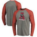 Alabama Crimson Tide Fanatics Branded Vault School Logo Tri-Blend Raglan Long Sleeve T-Shirt - Gray/Crimson