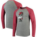 South Carolina Gamecocks Fanatics Branded Vault School Logo Tri-Blend Raglan Long Sleeve T-Shirt - Gray/Garnet