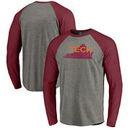 Virginia Tech Hokies Fanatics Branded Vault School Logo Tri-Blend Raglan Long Sleeve T-Shirt - Gray/Maroon