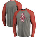 Washington State Cougars Fanatics Branded Vault School Logo Tri-Blend Raglan Long Sleeve T-Shirt - Gray/Crimson