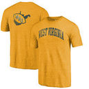 West Virginia Mountaineers Fanatics Branded Vault Two Hit Arch T-Shirt - Heathered Gold