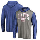 New York Giants NFL Pro Line by Fanatics Branded Wide Arch Hooded Long Sleeve T-Shirt – Heathered Gray/Royal