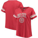 Ohio State Buckeyes Women's Plus Size Notch Neck Striped Sleeve T-Shirt– Scarlet/White