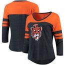 Auburn Tigers Fanatics Branded Women's Vault Primary Logo Raglan 3/4 Sleeve Tri-Blend Long Sleeve T-Shirt – Heathered Navy/Orang